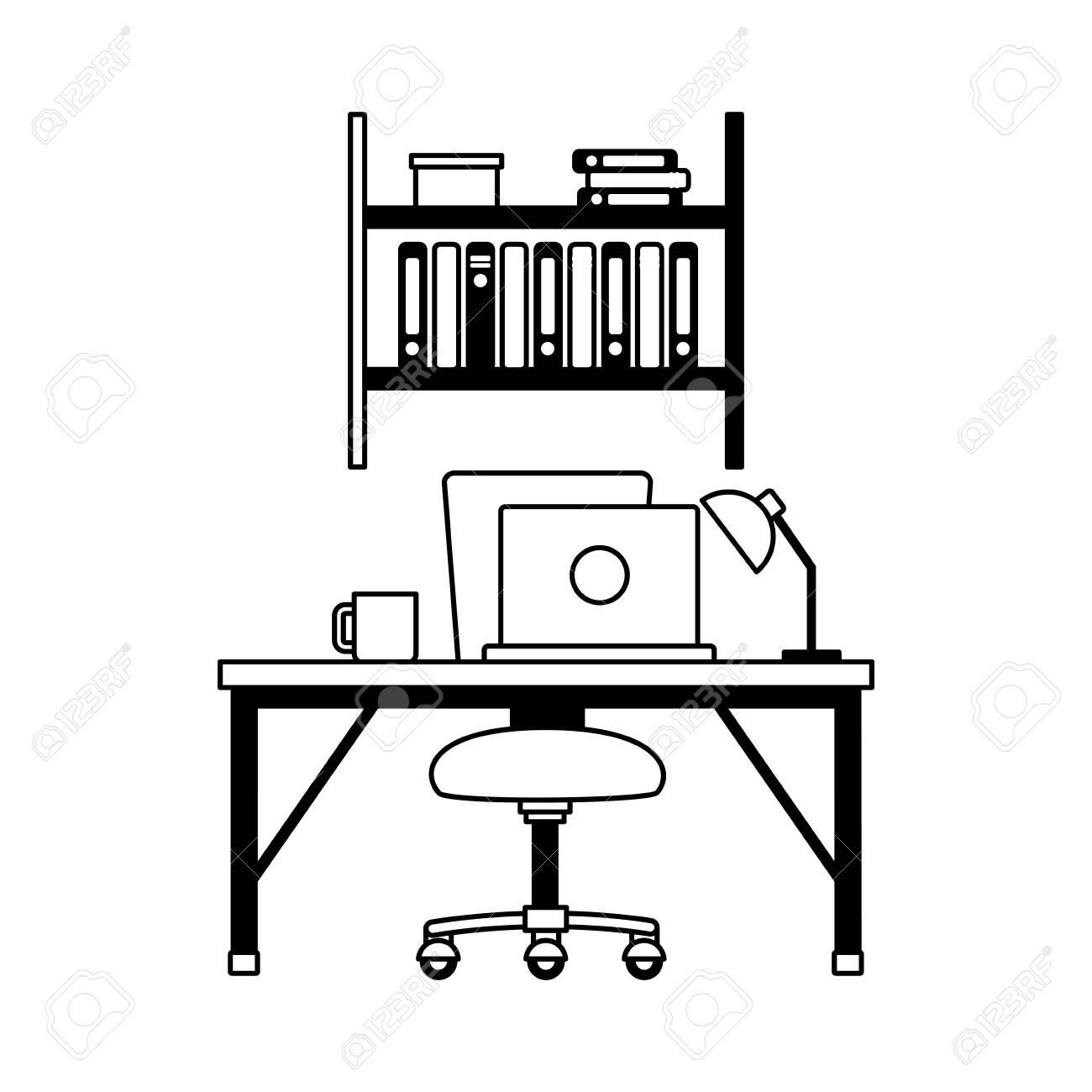 office workplace furniture desk bookshelf vector illustration - 128830500