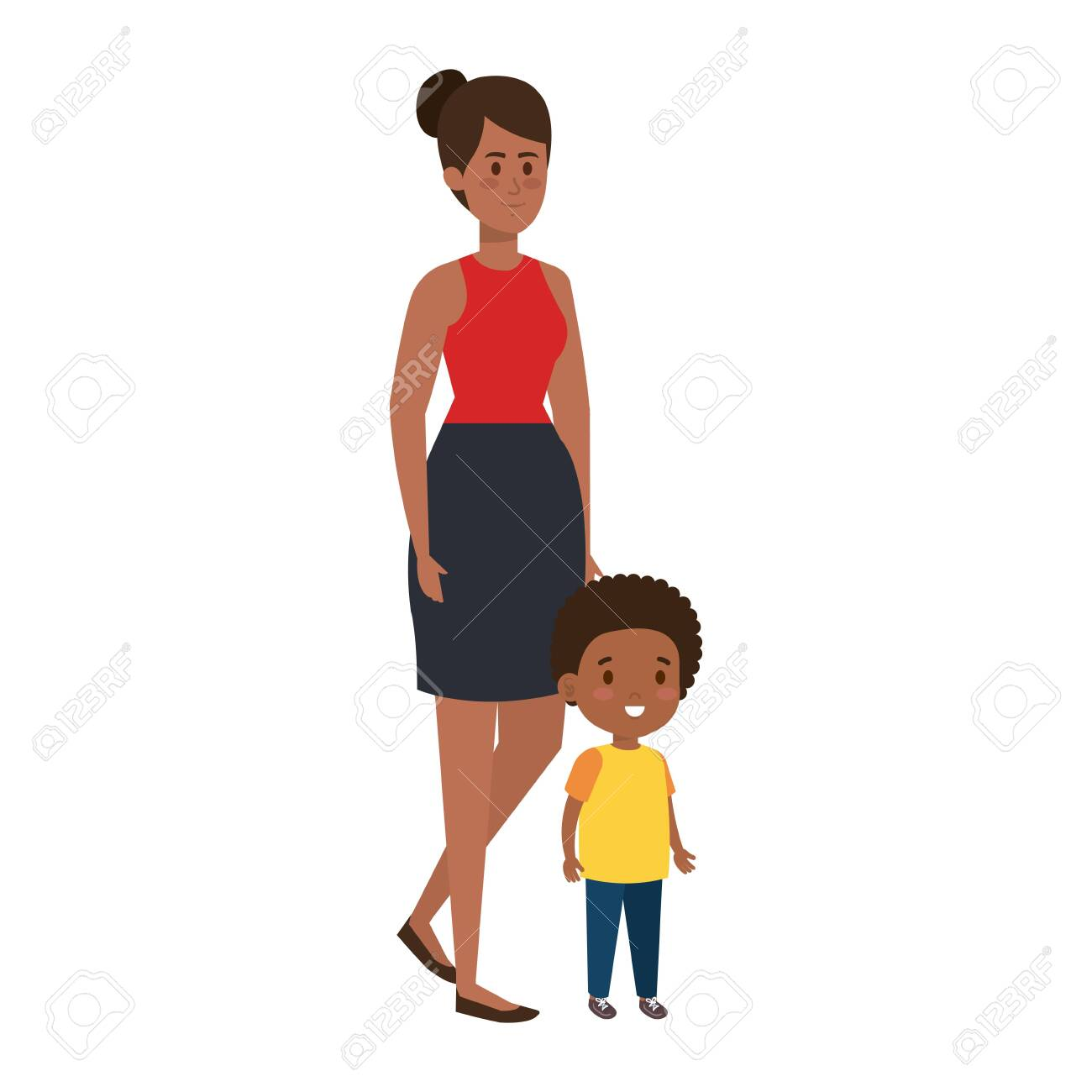 afro mother with little son characters vector illustration design