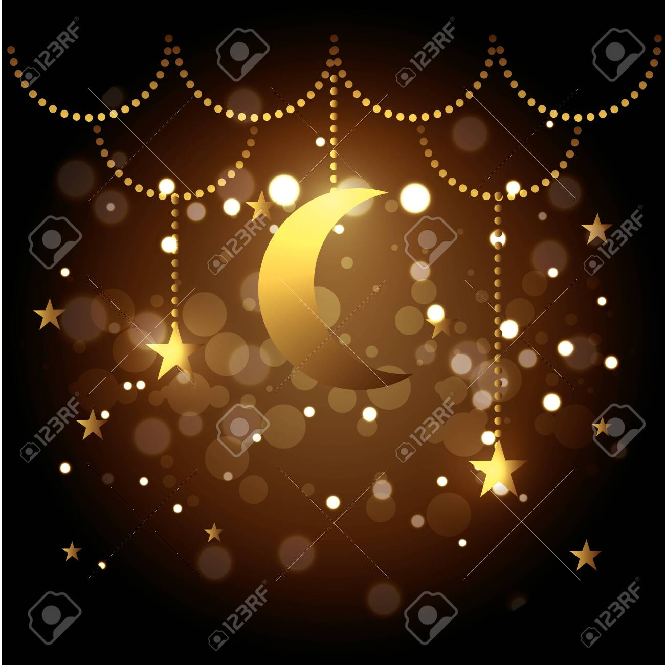 moon and stars hanging decoration to festival vector illustration - 129340971