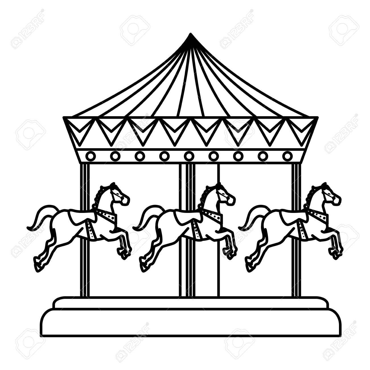 Carnival Carousel Horses Icon Vector Illustration Design Royalty Free Cliparts Vectors And Stock Illustration Image 129359424