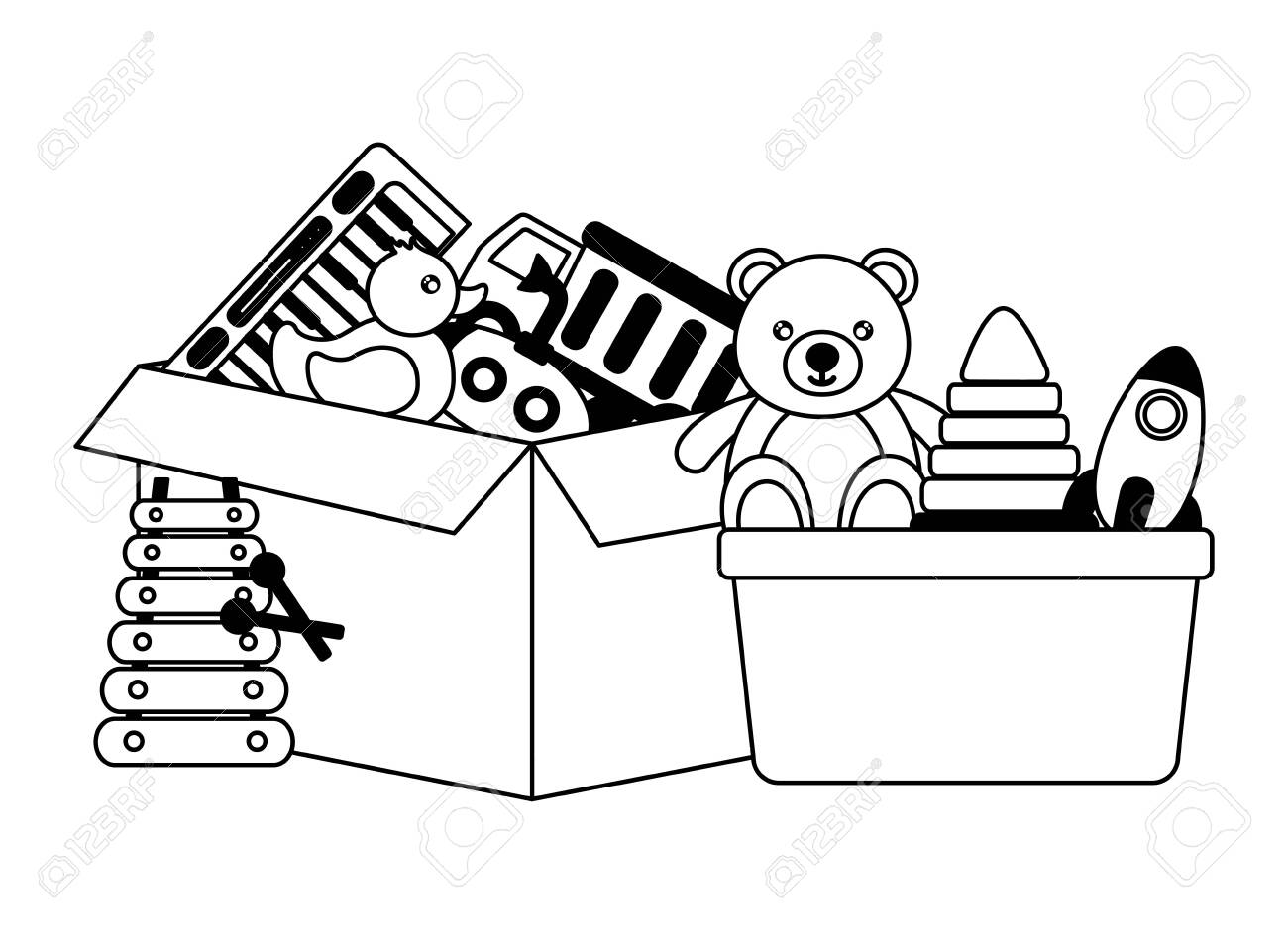 Teddy Bear Toy With Gift Box And Balloons. Vector Clip Art. Royalty Free  Cliparts, Vectors, And Stock Illustration. Image 80903319.
