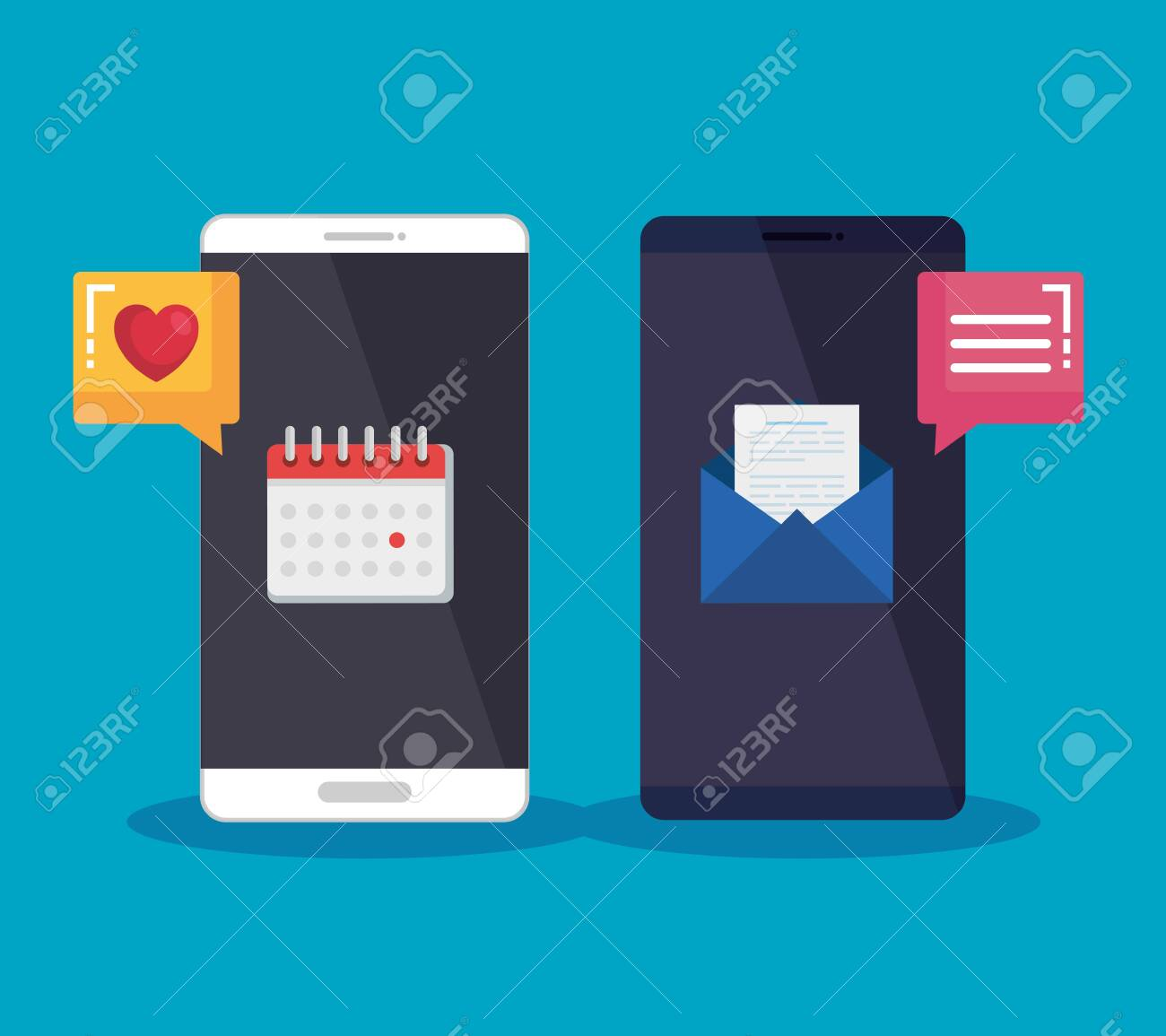 smartphones technology with chat bubble and letter media vector illustration - 129483785