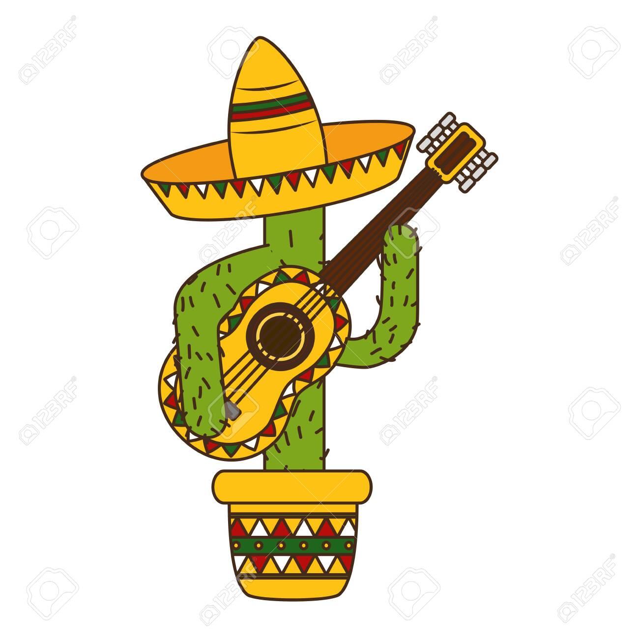 cactus with hat and guitar mexico cinco de mayo vector illustration - 129482670