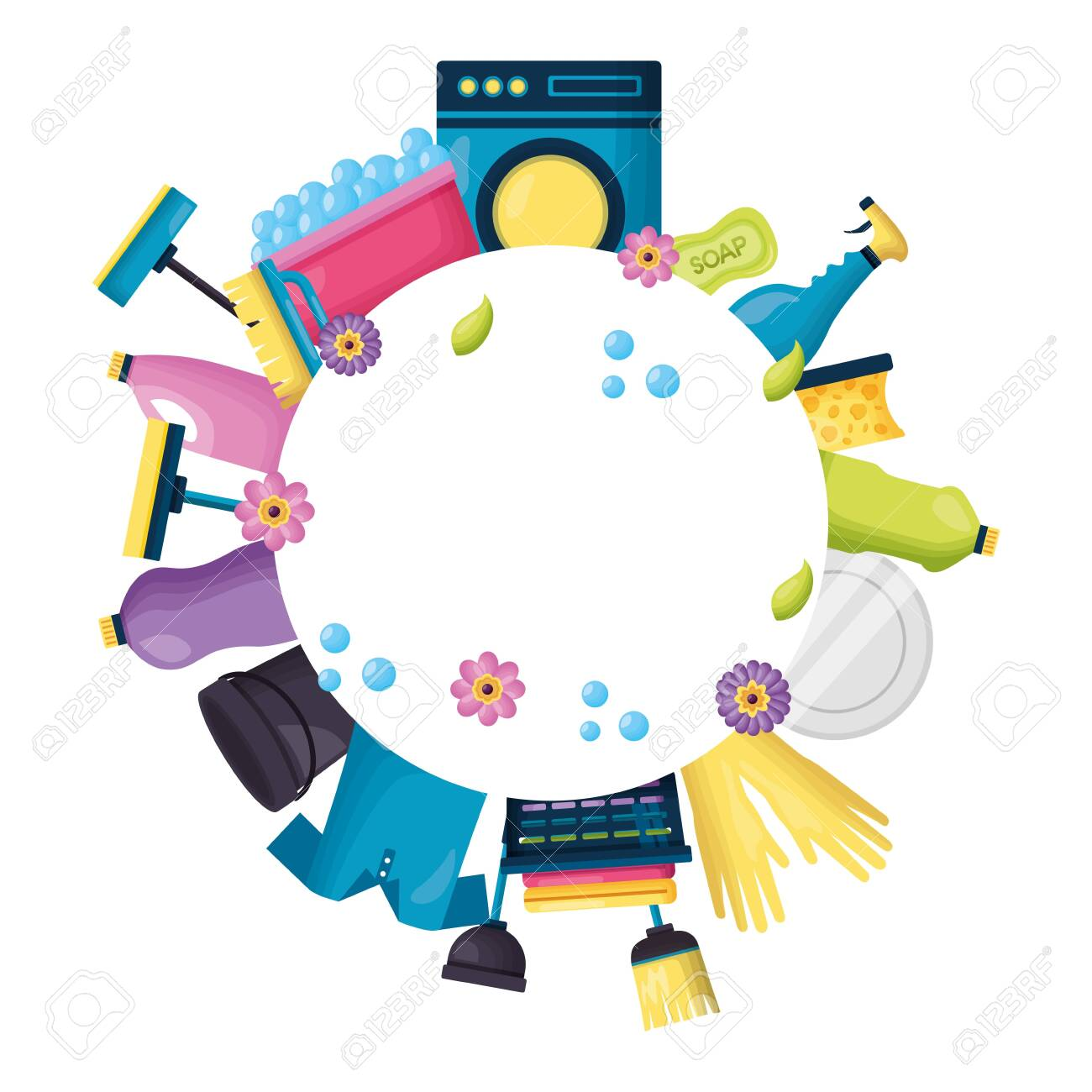 spring cleaning product equipment vector illustration vector illustration - 129501552
