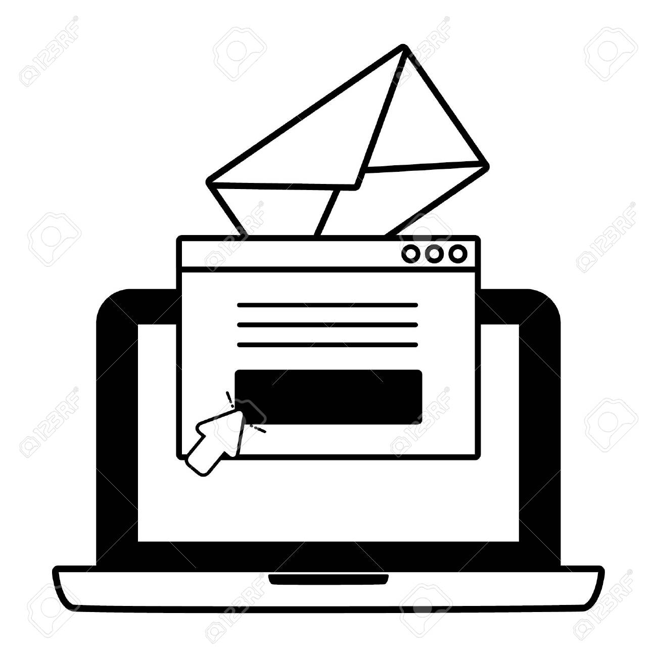 laptop communication web send email vector illustration - 132610032