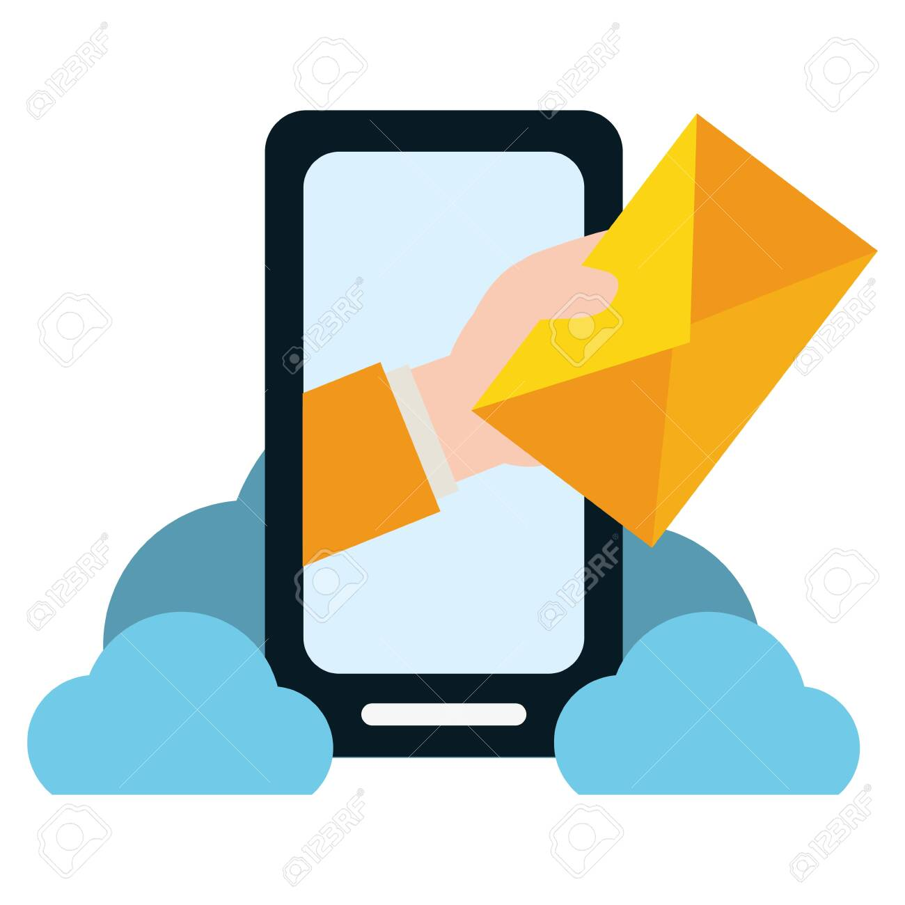 hand with envelope smartphone cloud computing send email vector illustration - 129666325