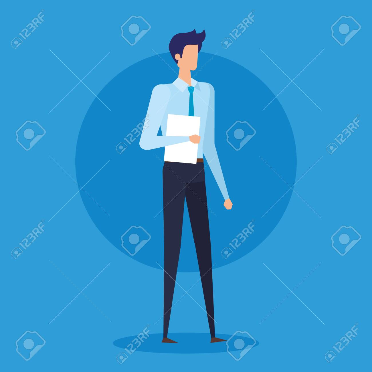 professional businessman with elegant clothes and documents over blue background, vector illustration - 129511133