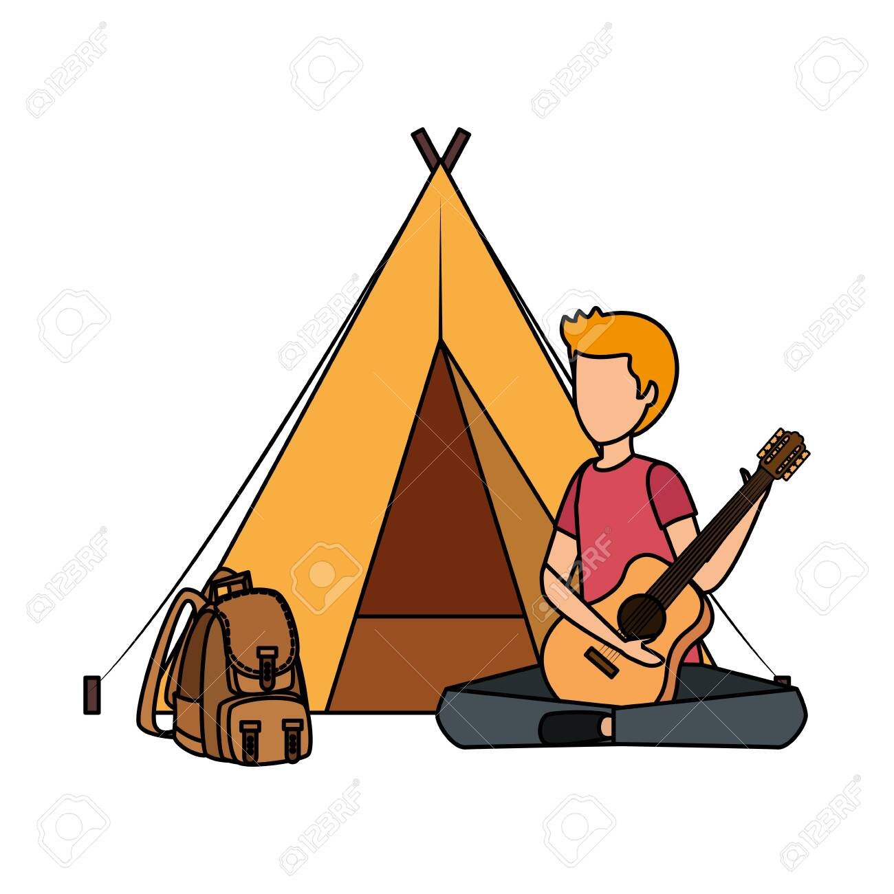 young man playing guitar with camping tent and travelbag vector illustration - 129879060
