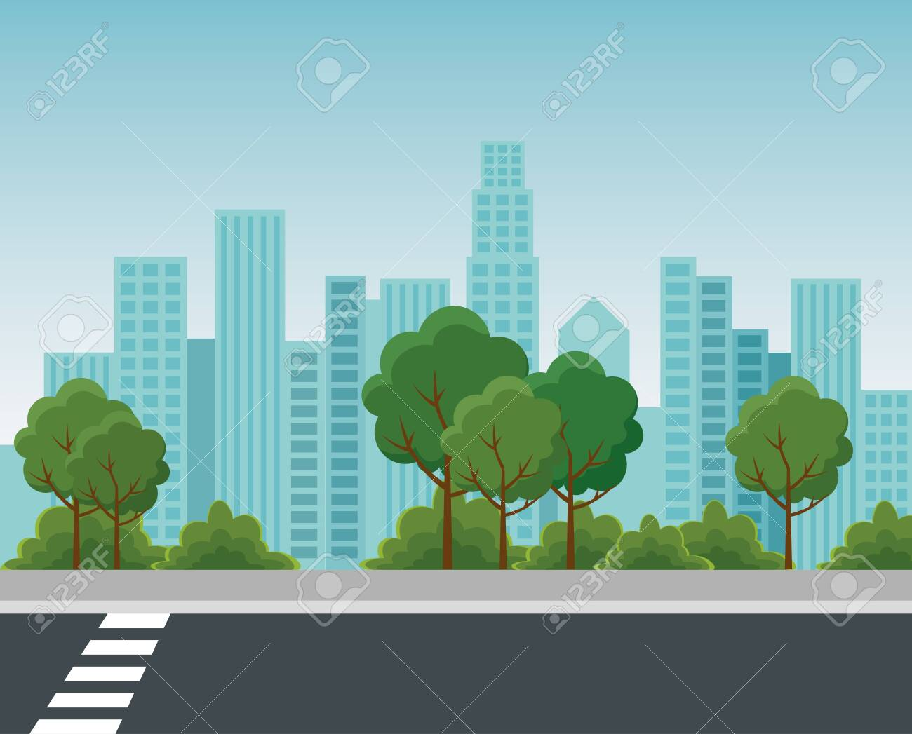 park with trees and bushes plants with building cityscape to urban relaxation vector illustration - 129790821