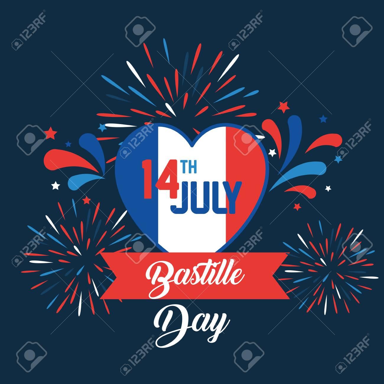 heart france flag with ribbon and fireworks to bastille celebration vector illustration - 129824192