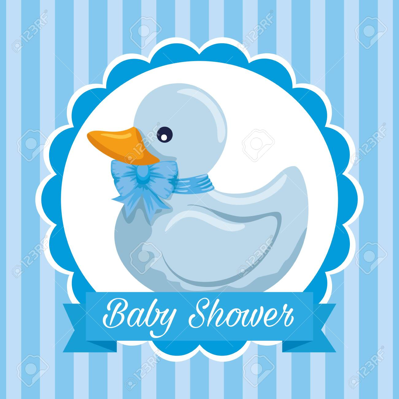 Label Of Duck And Ribbon Decoration Message To Baby Shower Vector