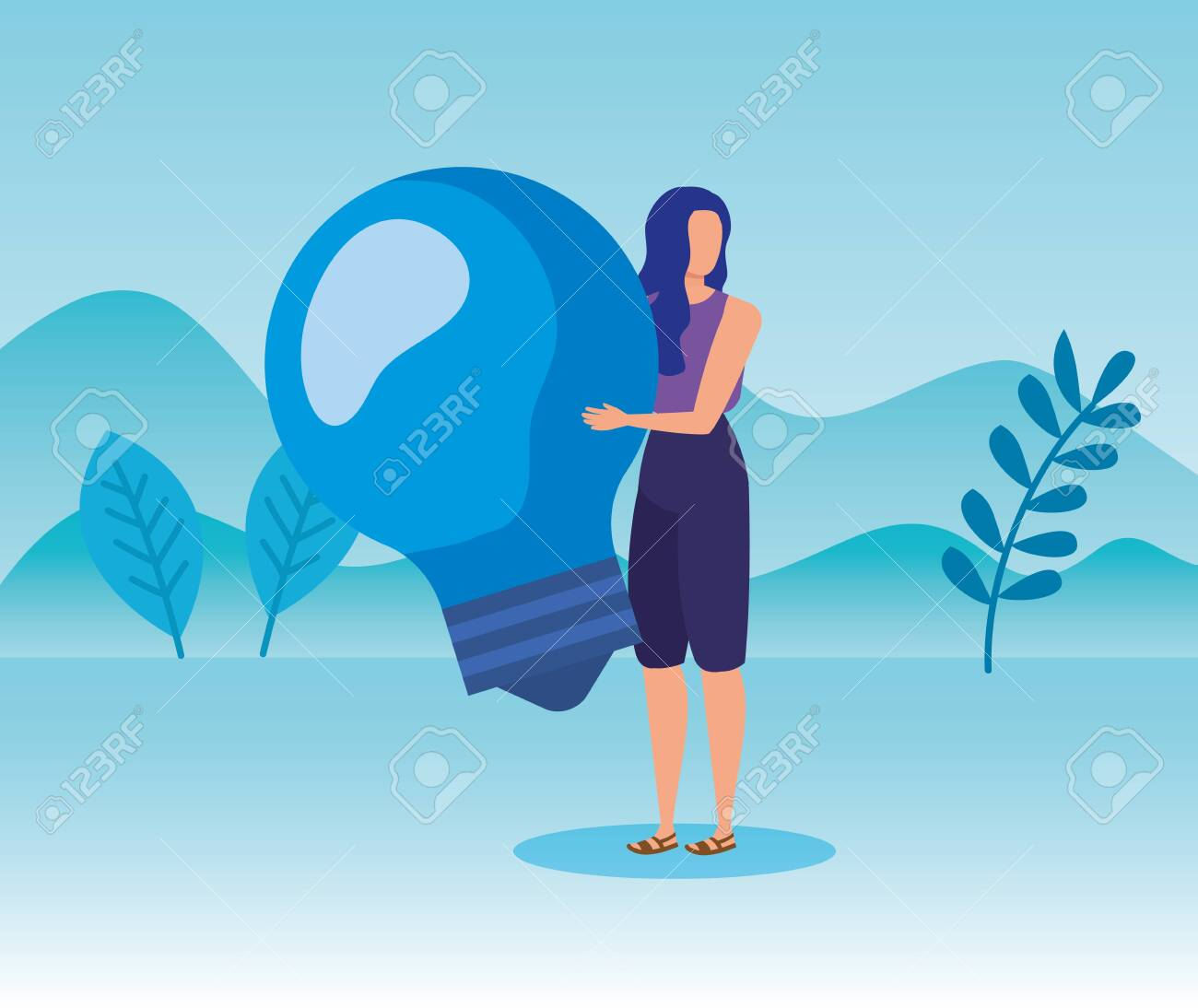woman with bulb idea business strategy in the landscape mountains, vector illustration - 129824749