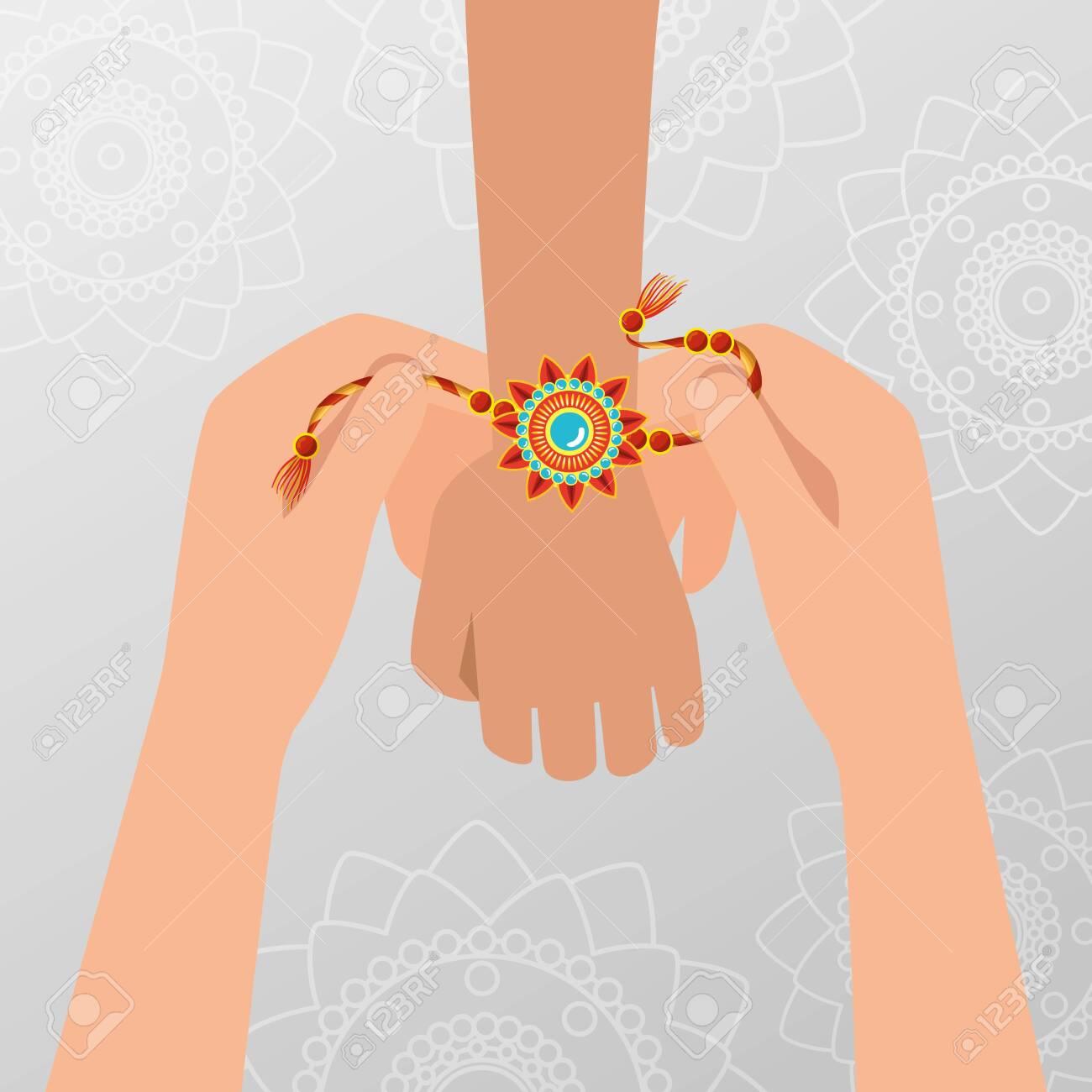 hands with flowers bracelet hindu tradition to raksha bandhan, vector illustration - 129825168