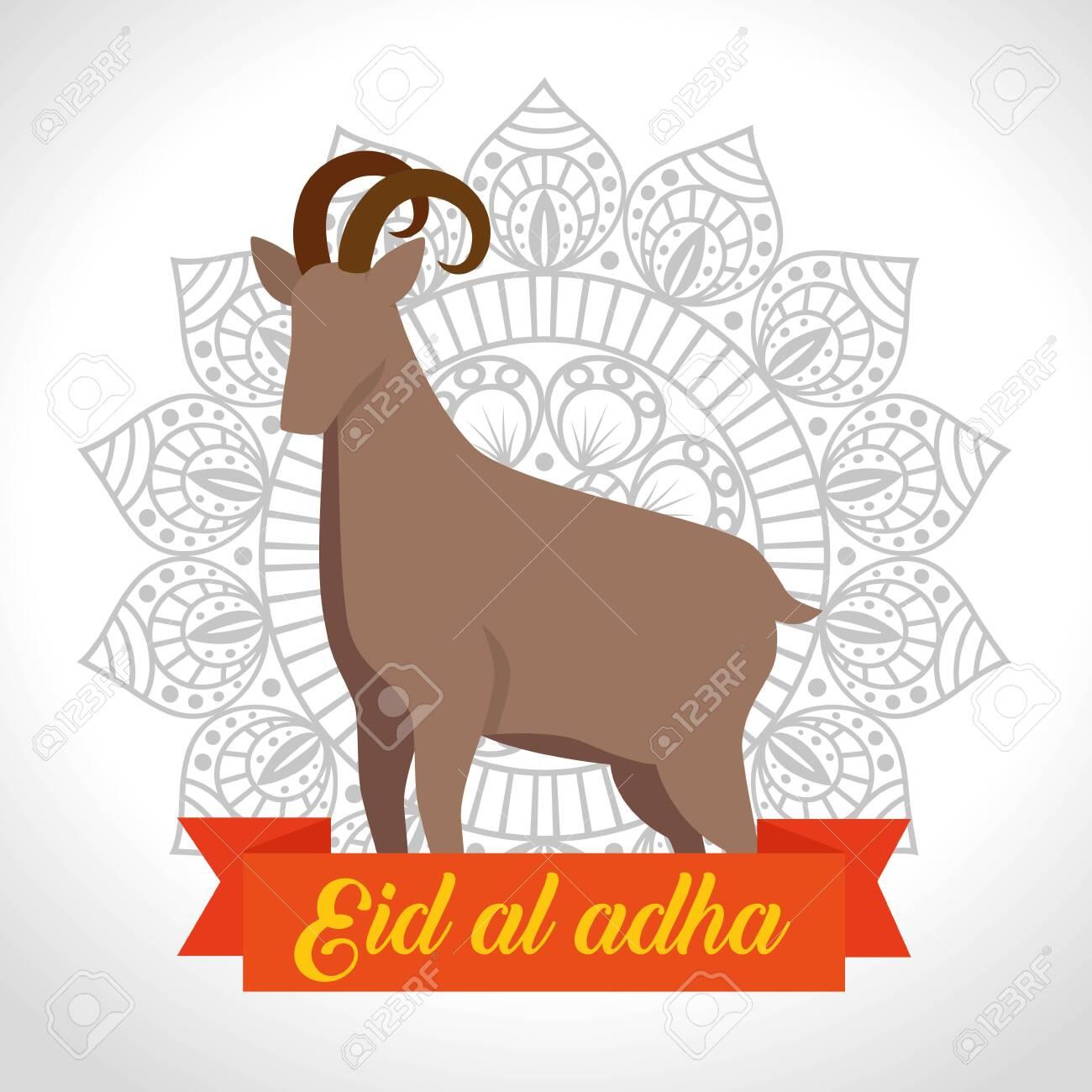 deer sacrifice animal with mandala flower and ribbon to eid al adha, vector illustration - 129825338