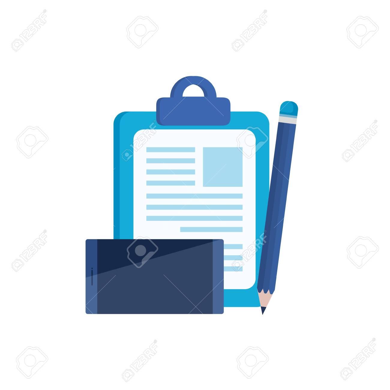 checklist clipboard with smartphone device vector illustration design - 129830894