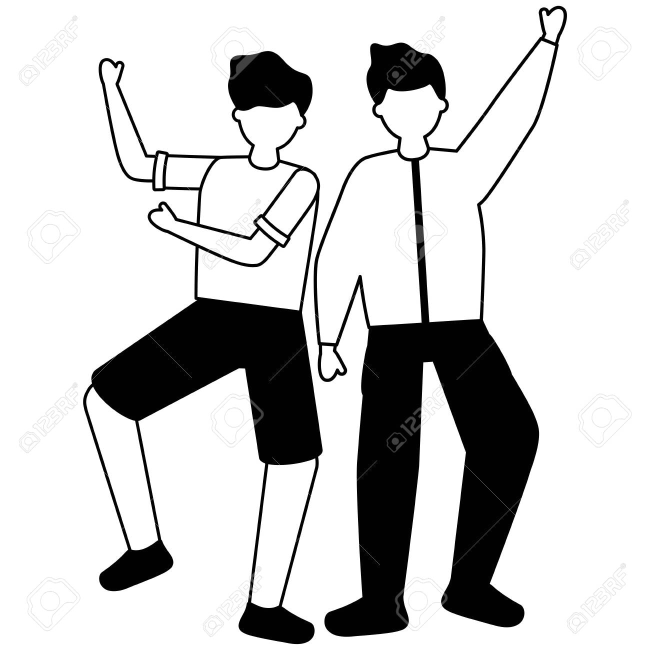 celebrating men hands up characters vector illustration white and black - 129979400