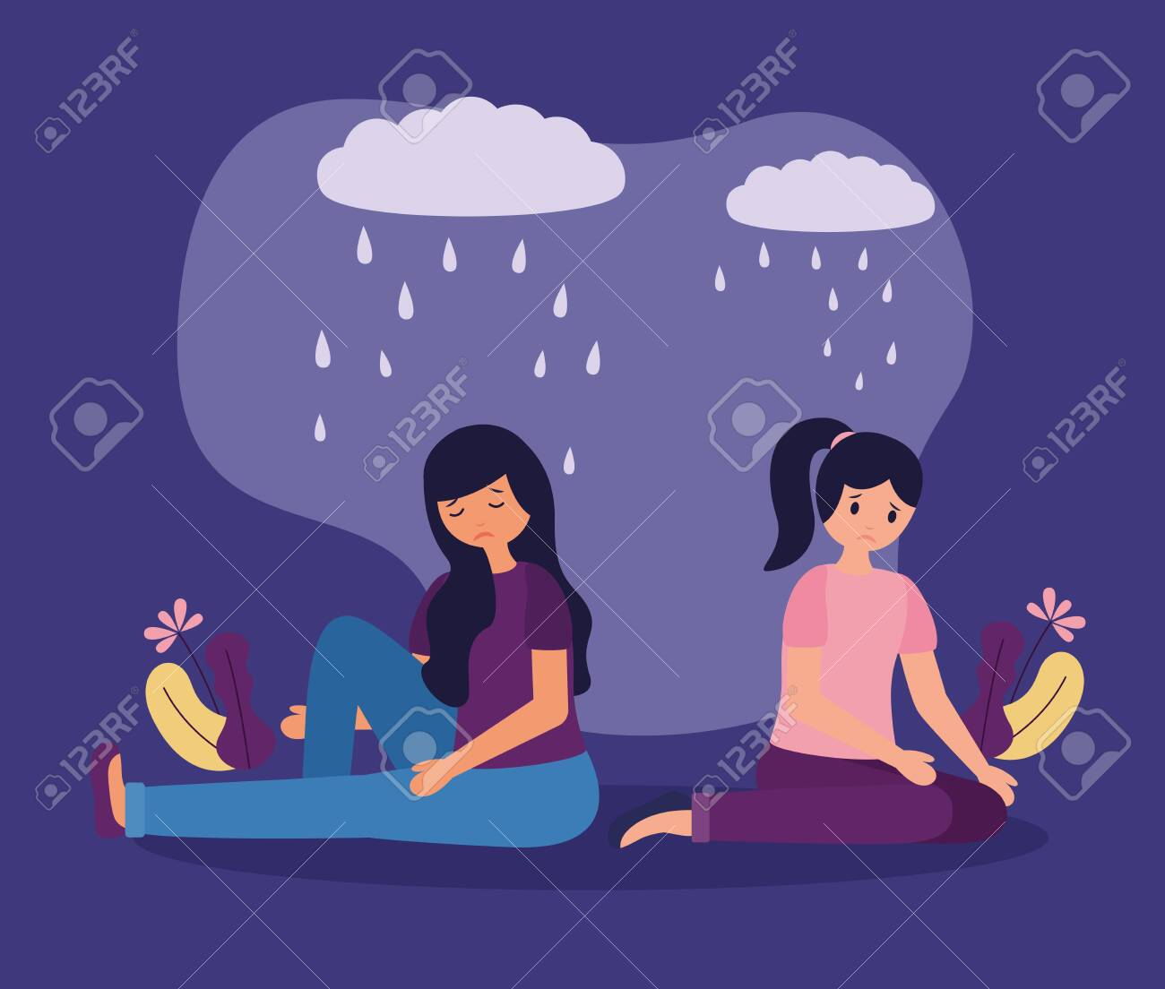 sadness girls with mental disorder psychological depressed vector illustration - 129884805