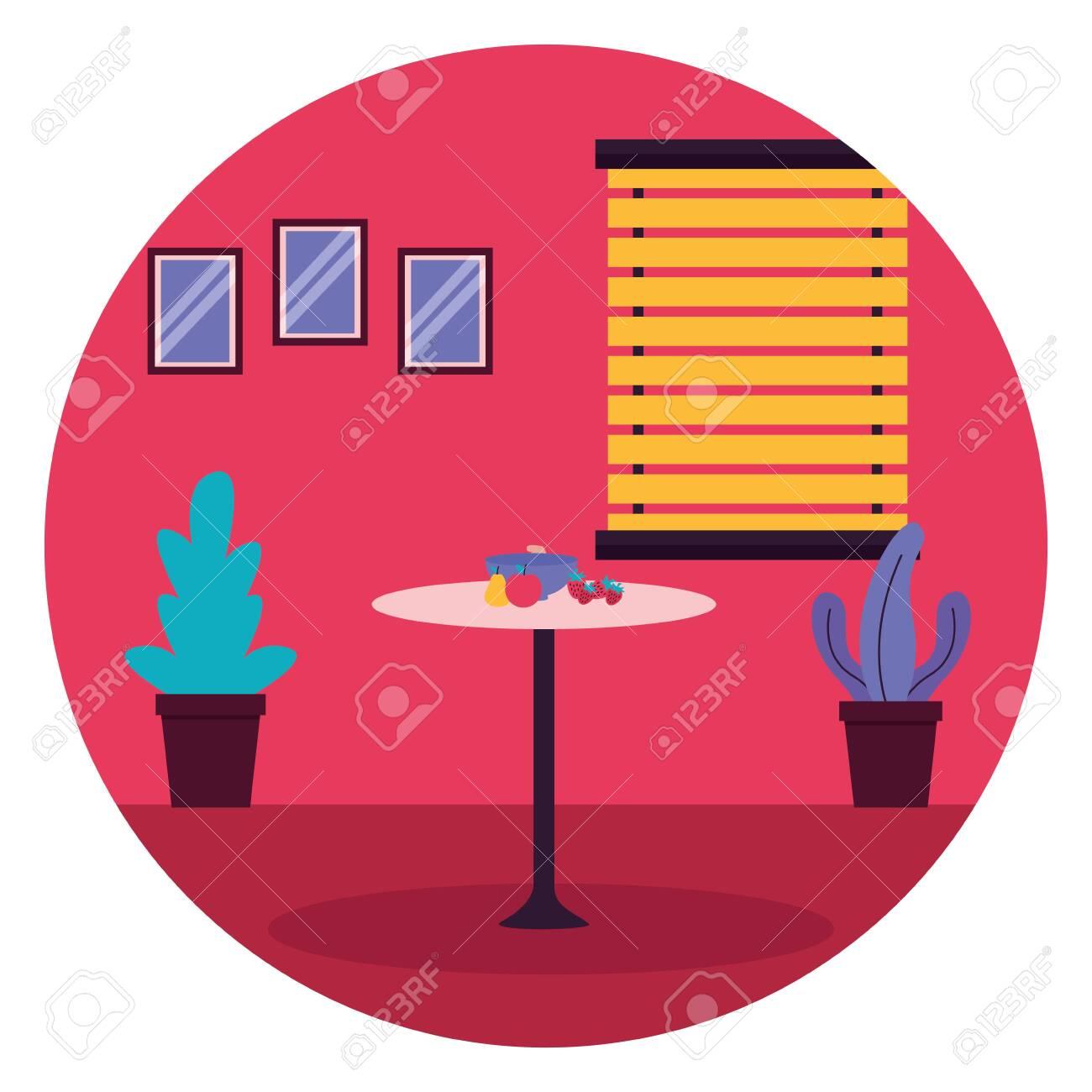 kitchen fruits table window plants furniture sticker vector illustration - 129894700