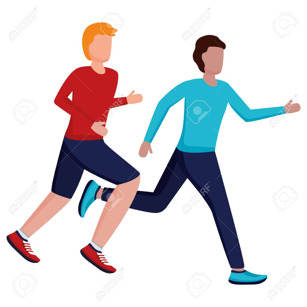 two men practicing running activity vector illustration - 130009236