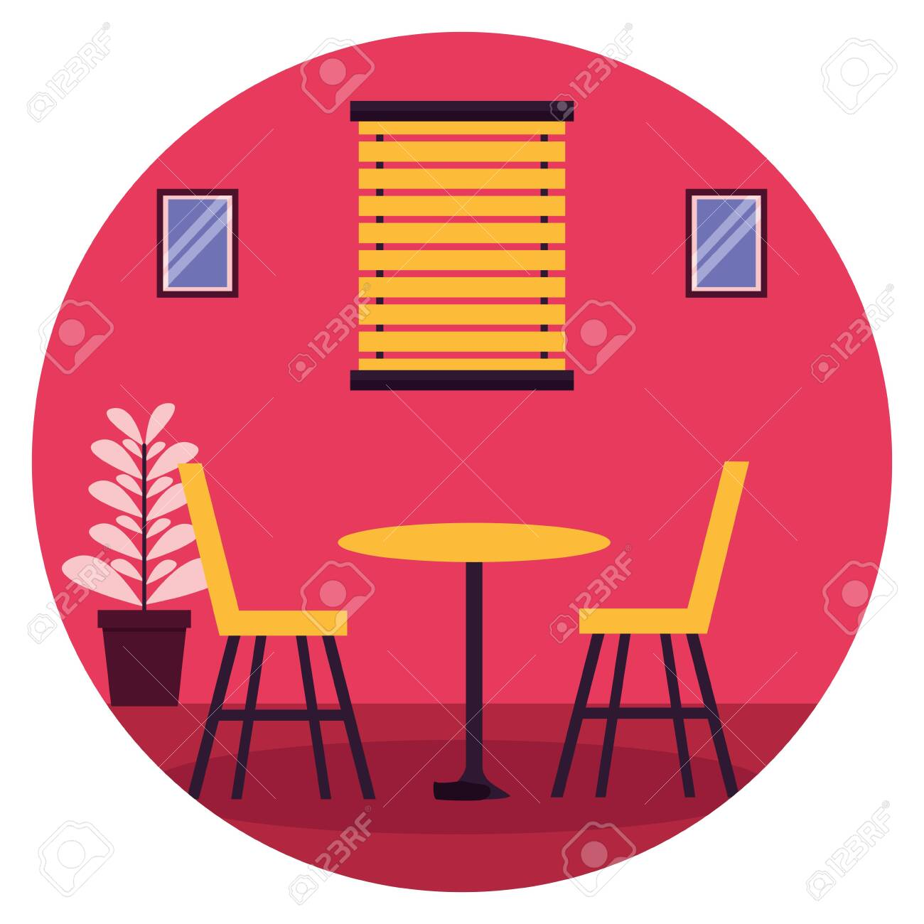table chairs window plant pot furniture sticker vector illustration - 130074033
