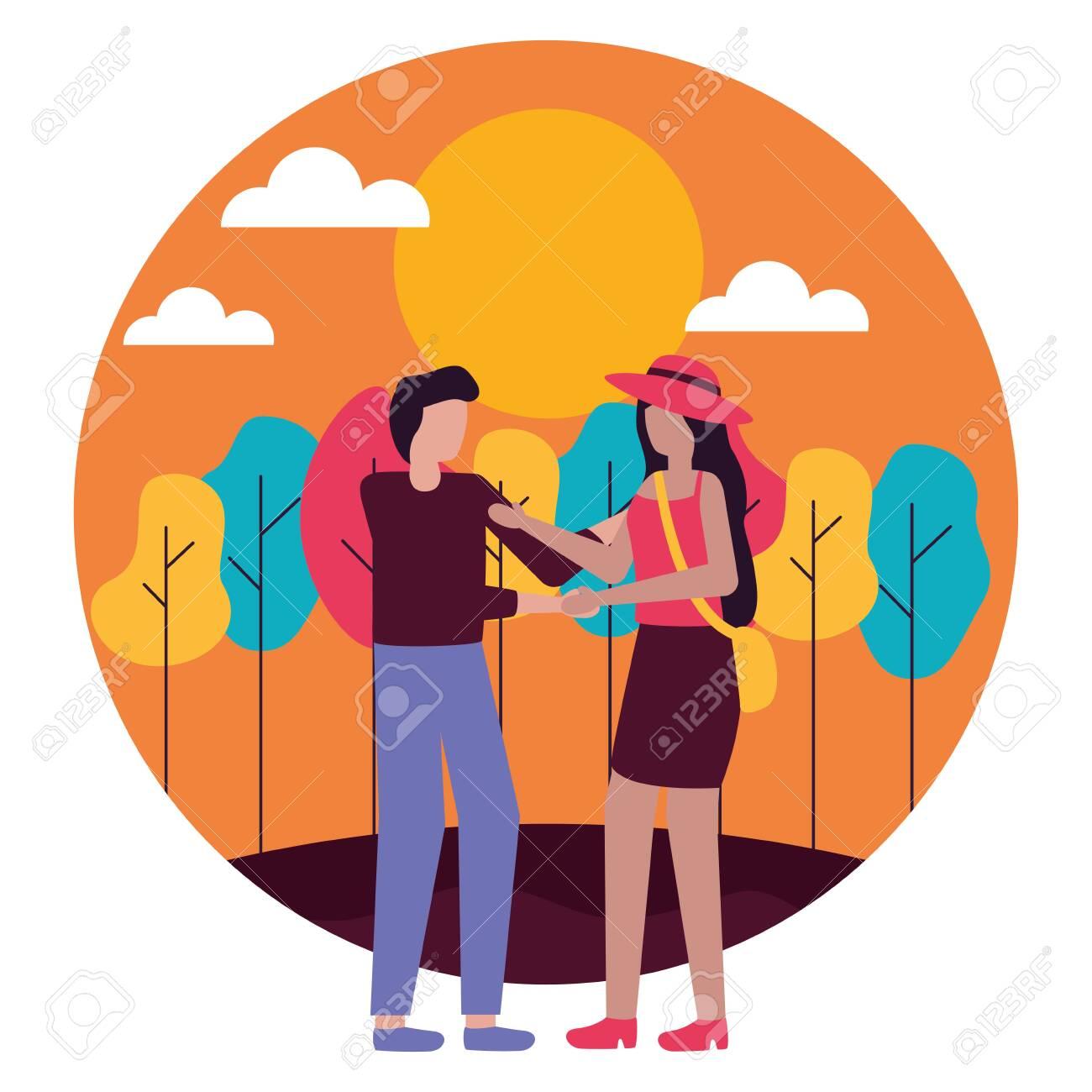 couple romantic love outdoors flat design vector illustration - 130134800