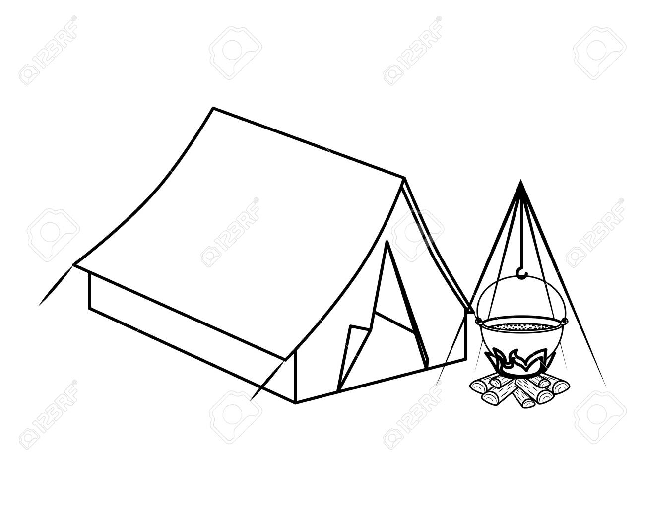 tent camping with wood fire icons vector illustration design - 130089581