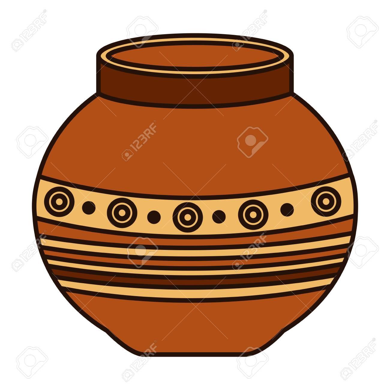 indian ceramic pot folk icon vector illustration design - 130169979