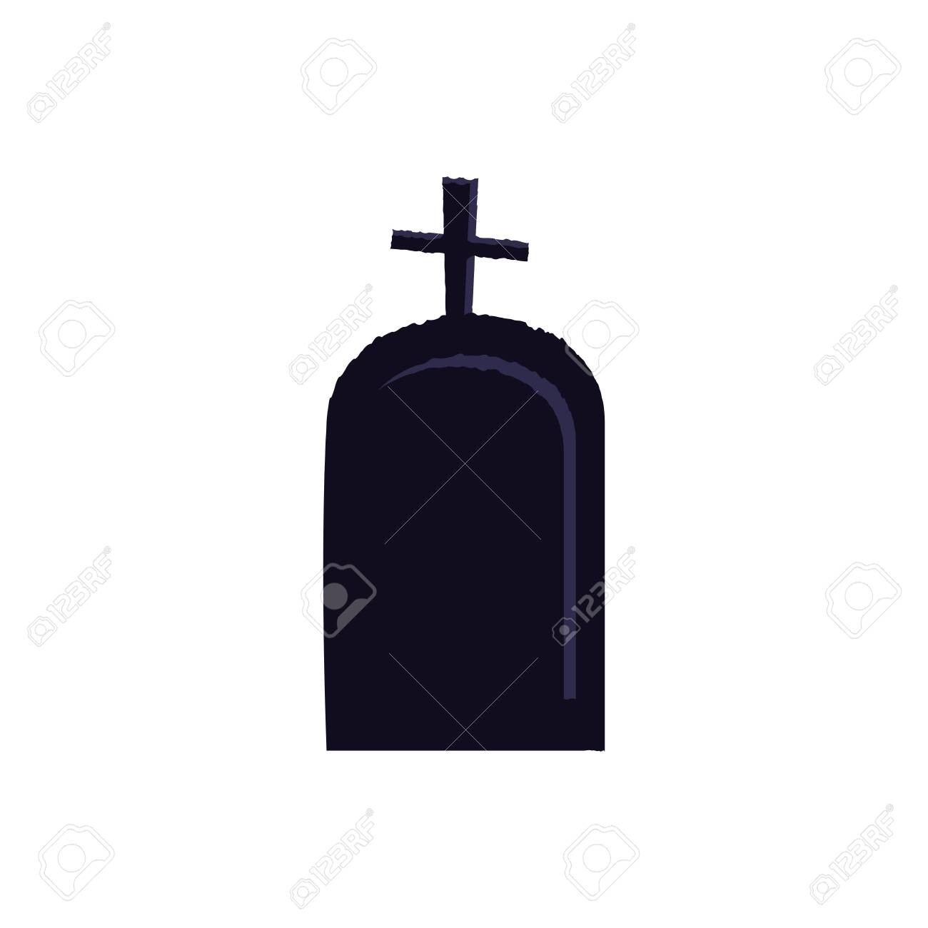 halloween tomb of cemetery isolated icon vector illustration design - 130185378
