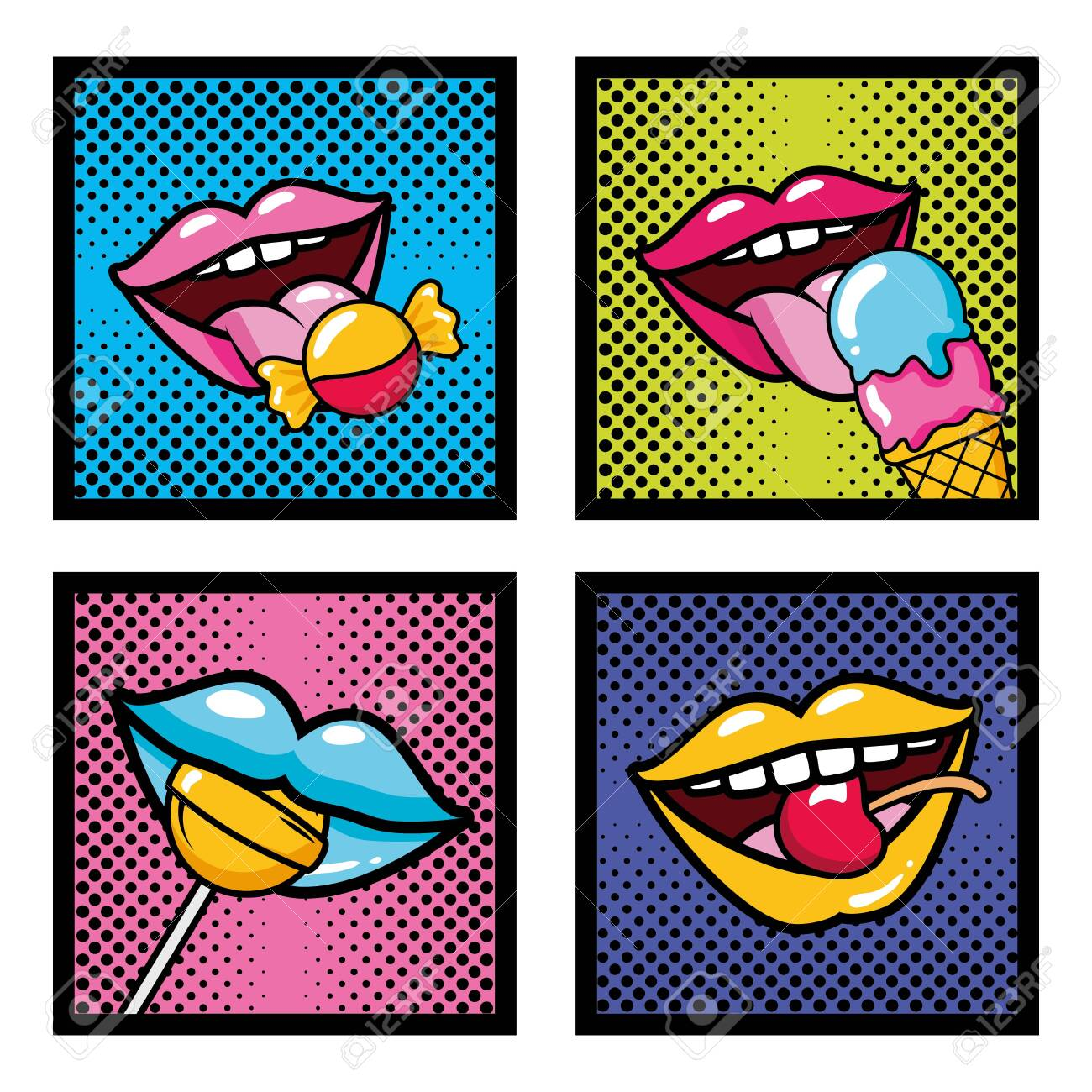 set pop art elements mouths candy lollipop ice cream cherry vector illustration - 130206674