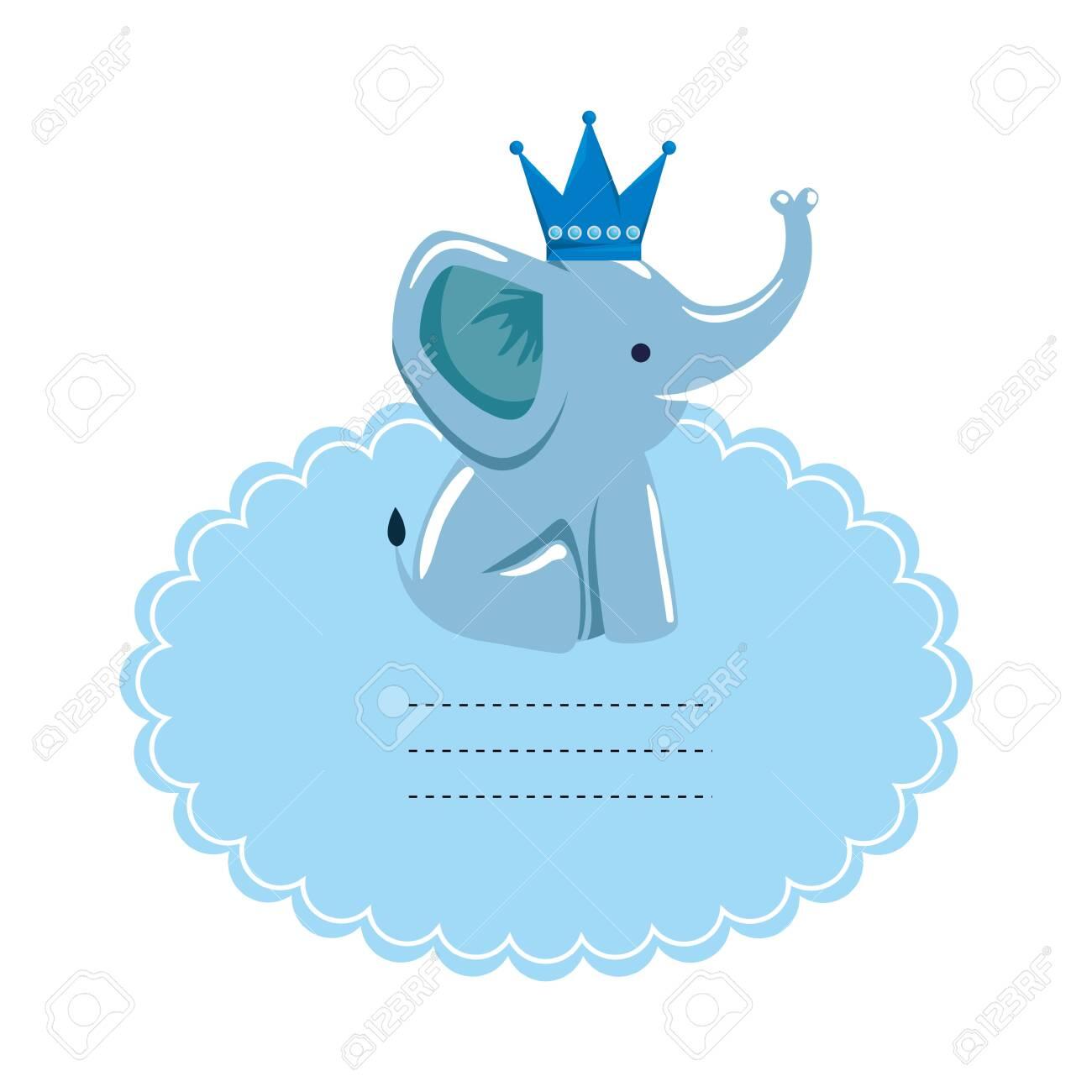 baby shower card with little elephant vector illustration design - 130344362
