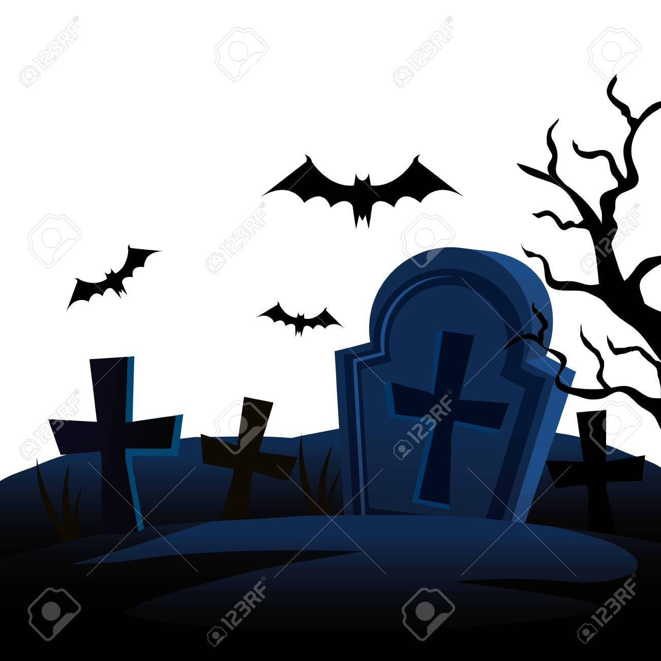 halloween tombs with bats flying vector illustration design - 130515983