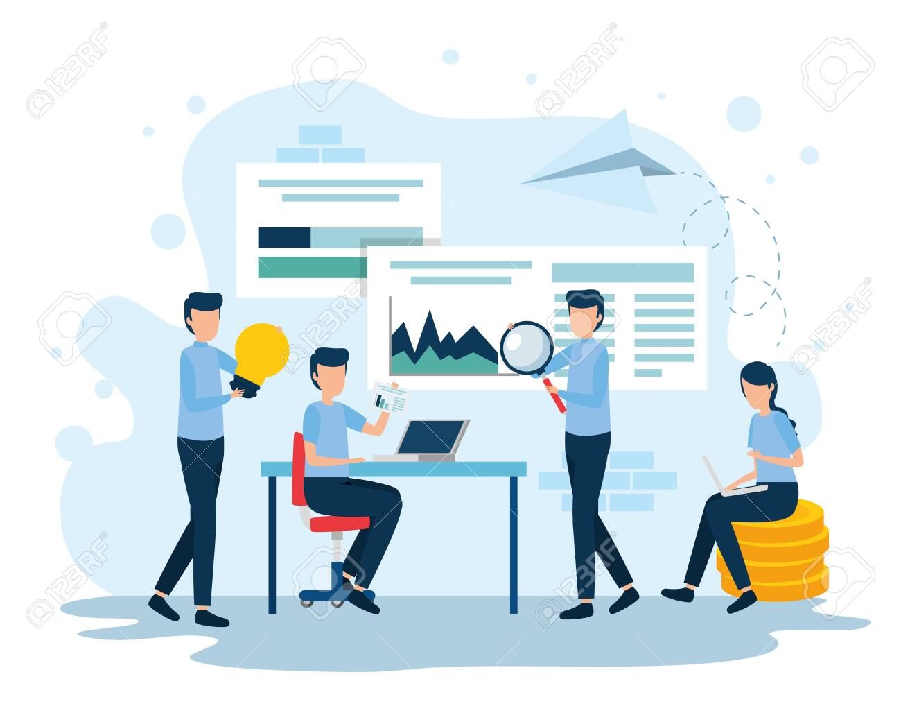 teamwork workers in the workplace vector illustration design - 132640646