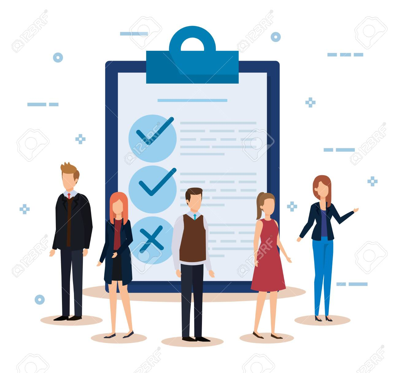 businesswomen and businessmen with documents check list vector illustration - 132976780