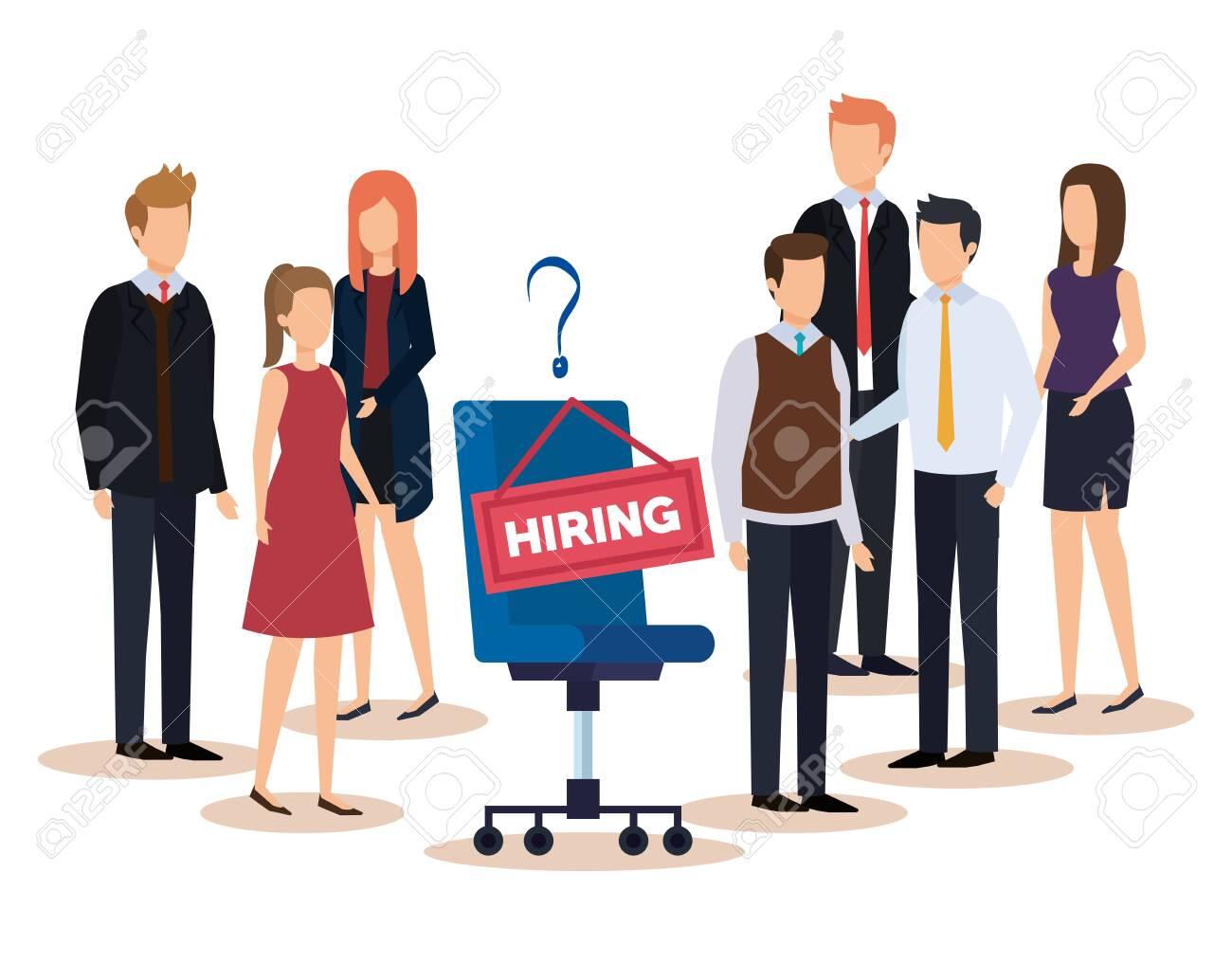 professional businesswomen and businessmen with hiring job vector illustration - 133064250