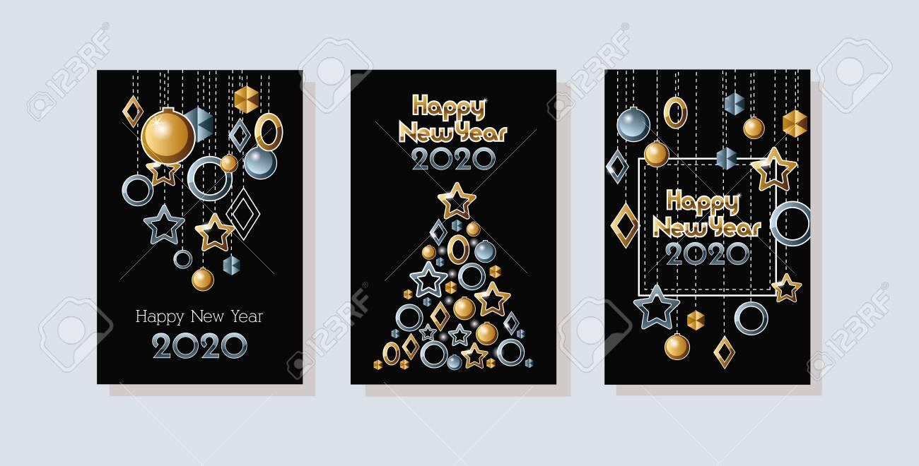happy new year 2020 celebration set cards vector illustration design - 133093159