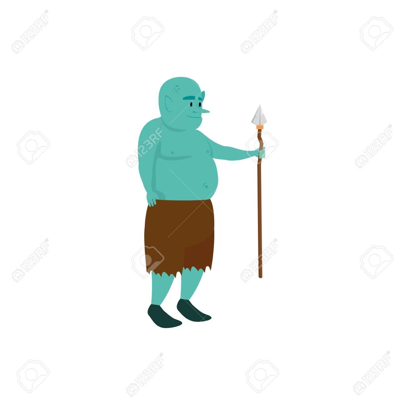 ogre fantasy magic with spear vector illustration design - 133150753