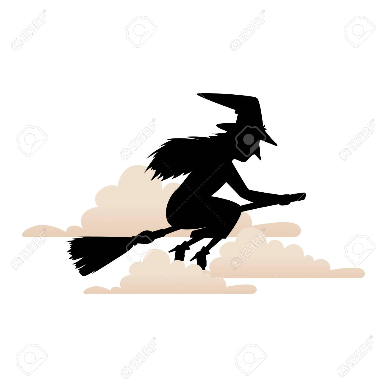 witch silhouette flying in broom isolated icon vector illustration design - 133150702