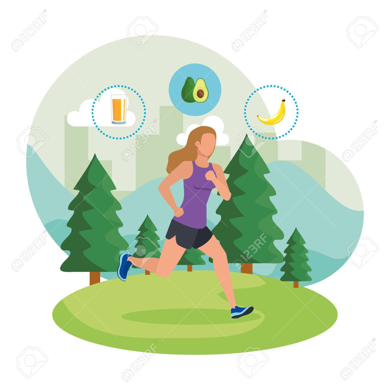 athletic woman running in the landscape with healthy icons vector illustration - 133835805