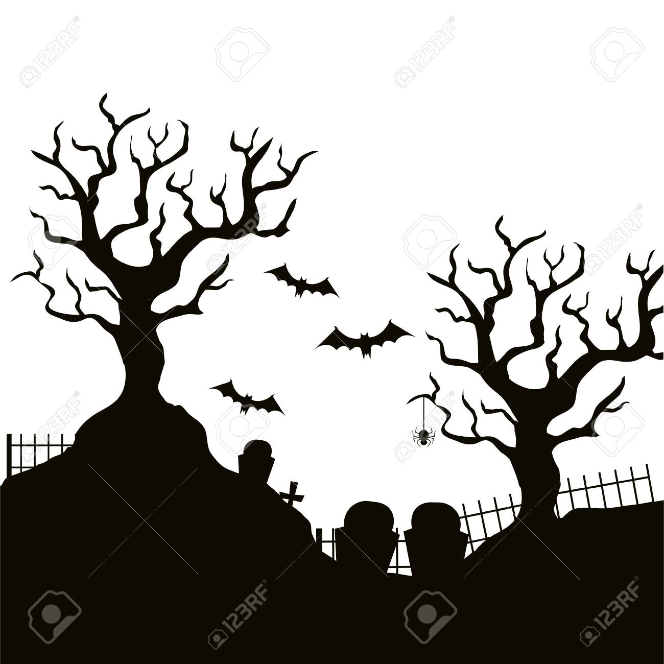 dry tree with cemetery isolated icon vector illustration design - 133836416