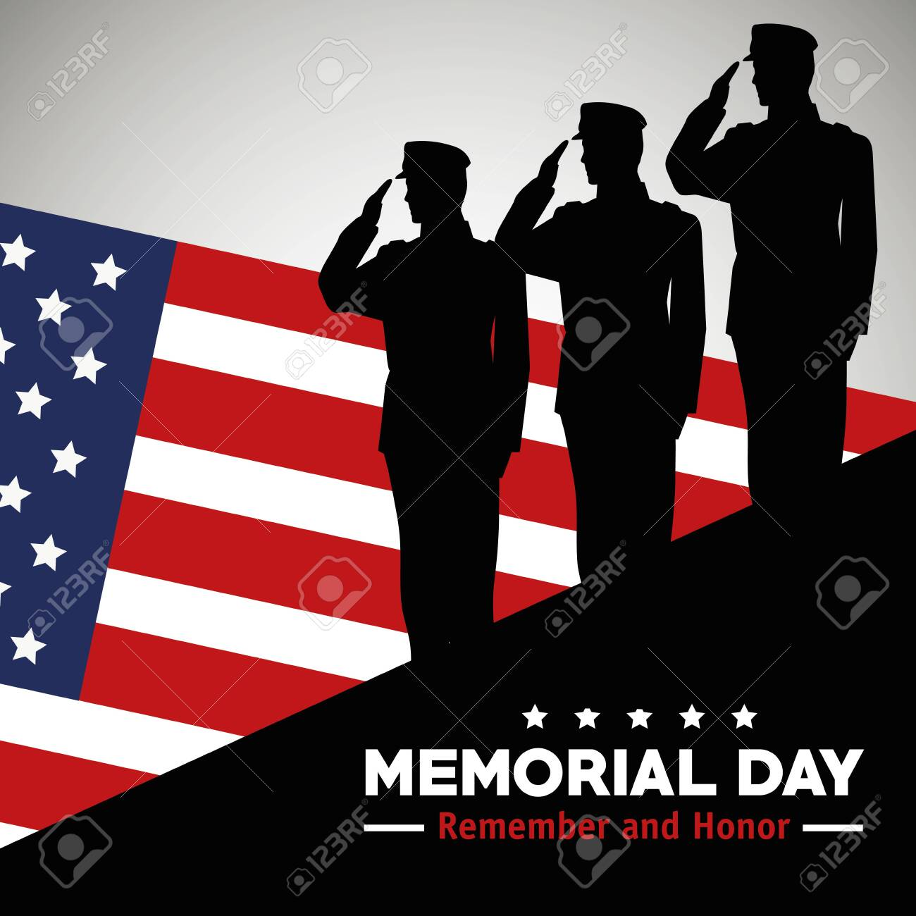 soldiers with usa flag to celebrate memorial day vector illustration - 133838372