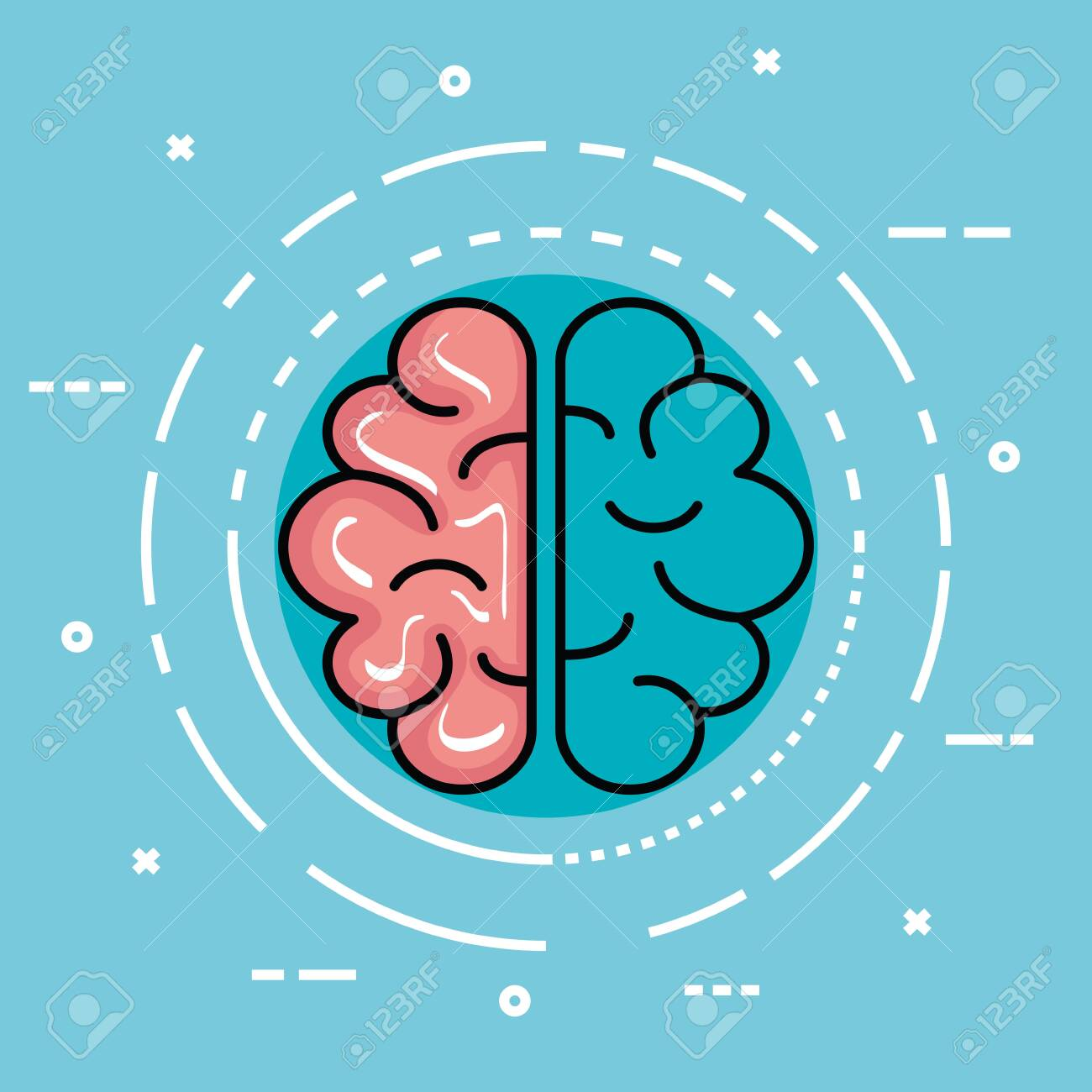 label with health brain and creative mind vector illustration - 133840040