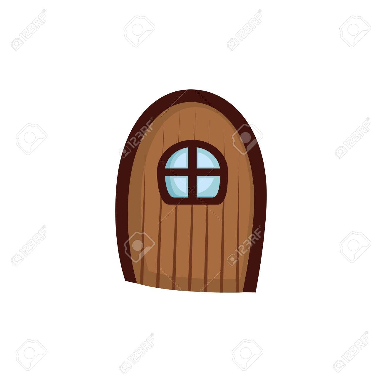 wooden door with window fairytale isolated icon vector illustration design - 133906964