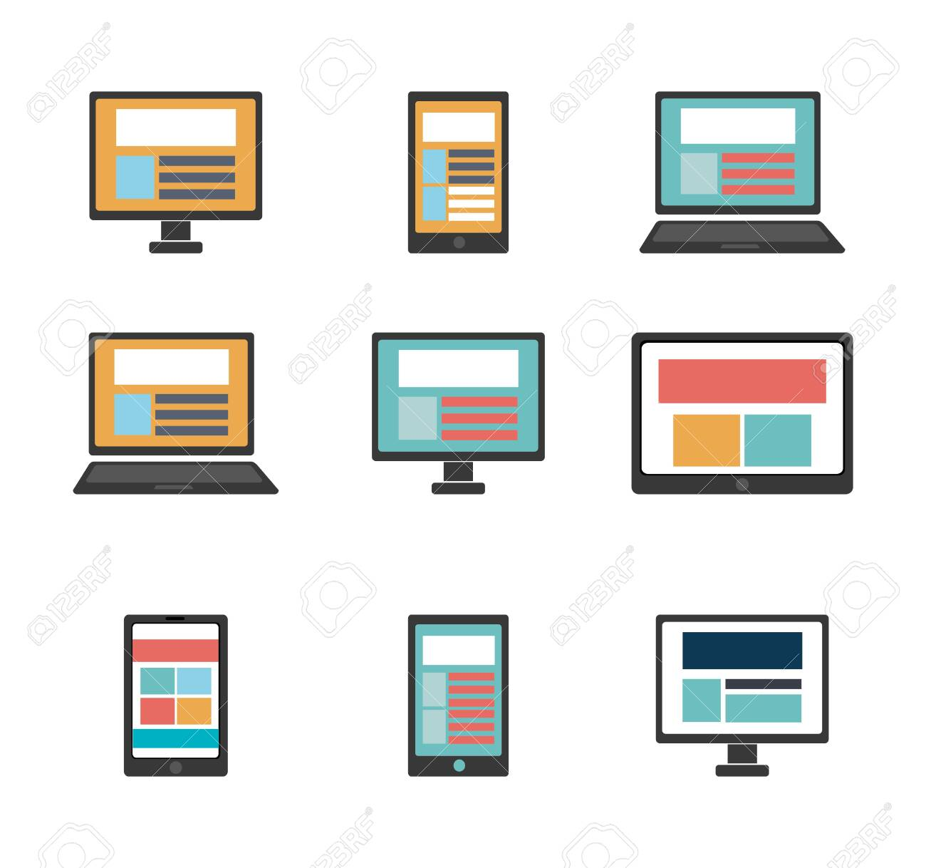 bundle of computer and technological devices vector illustration design - 133923657