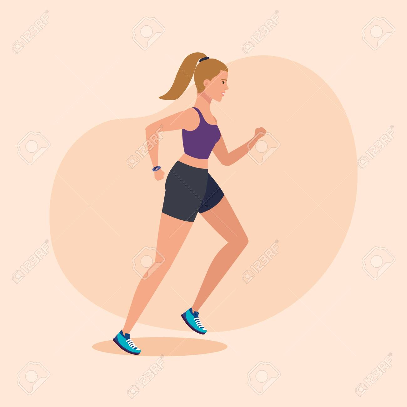 fitness woman running to practice sport over pink background, vector illustration - 133950048