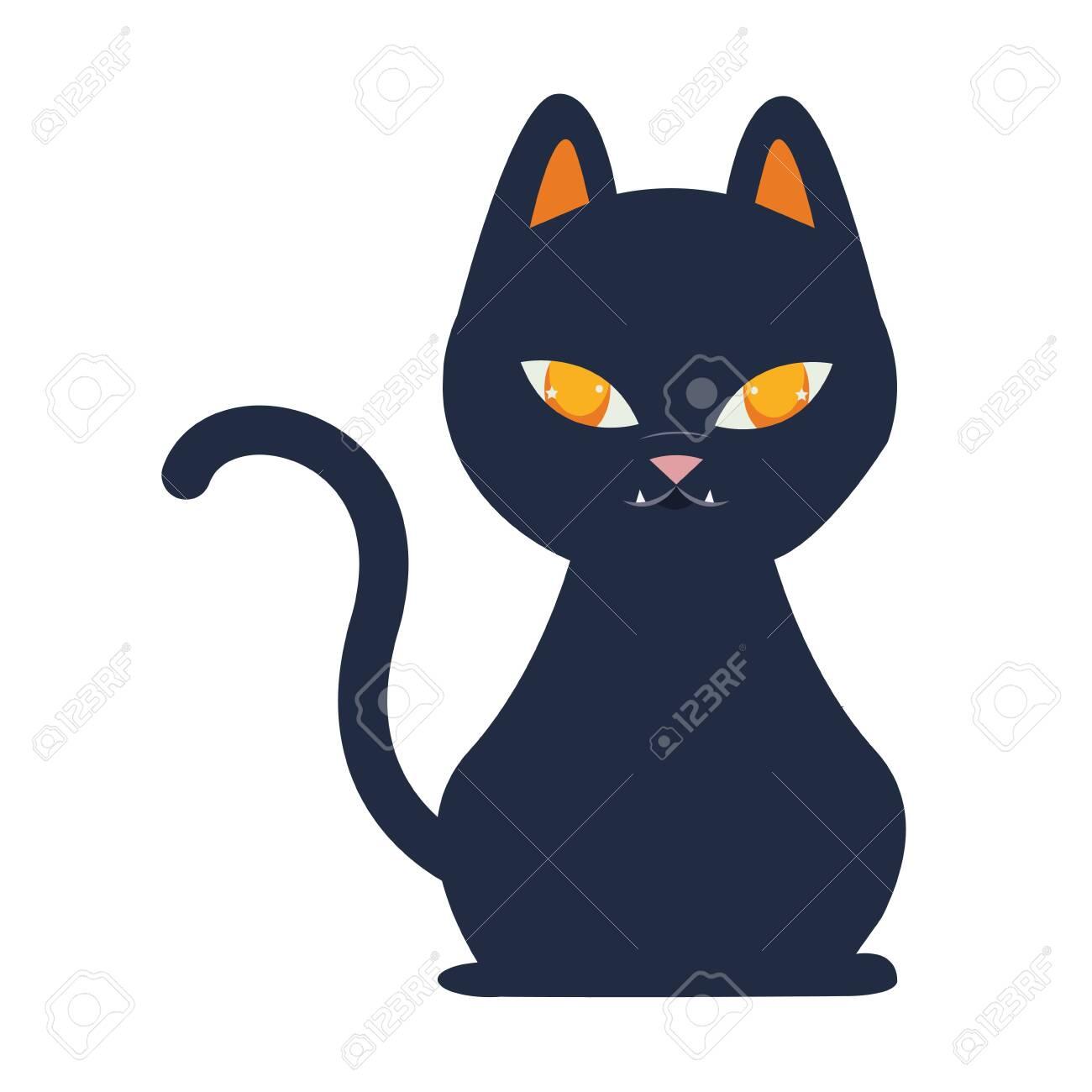 halloween cat mascot seasonal icon vector illustration design - 134029181