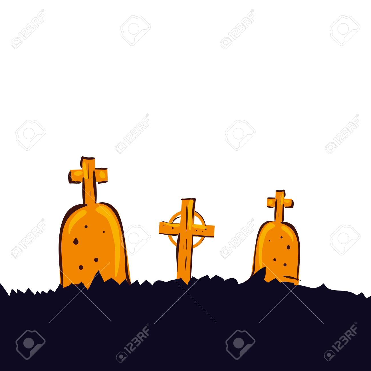 halloween tombs of cemetery isolated icon vector illustration design - 134226371