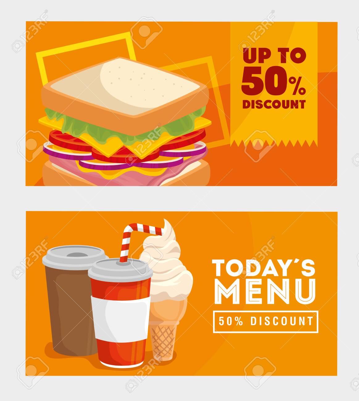 set of poster offer delicious fast food vector illustration design - 134136410
