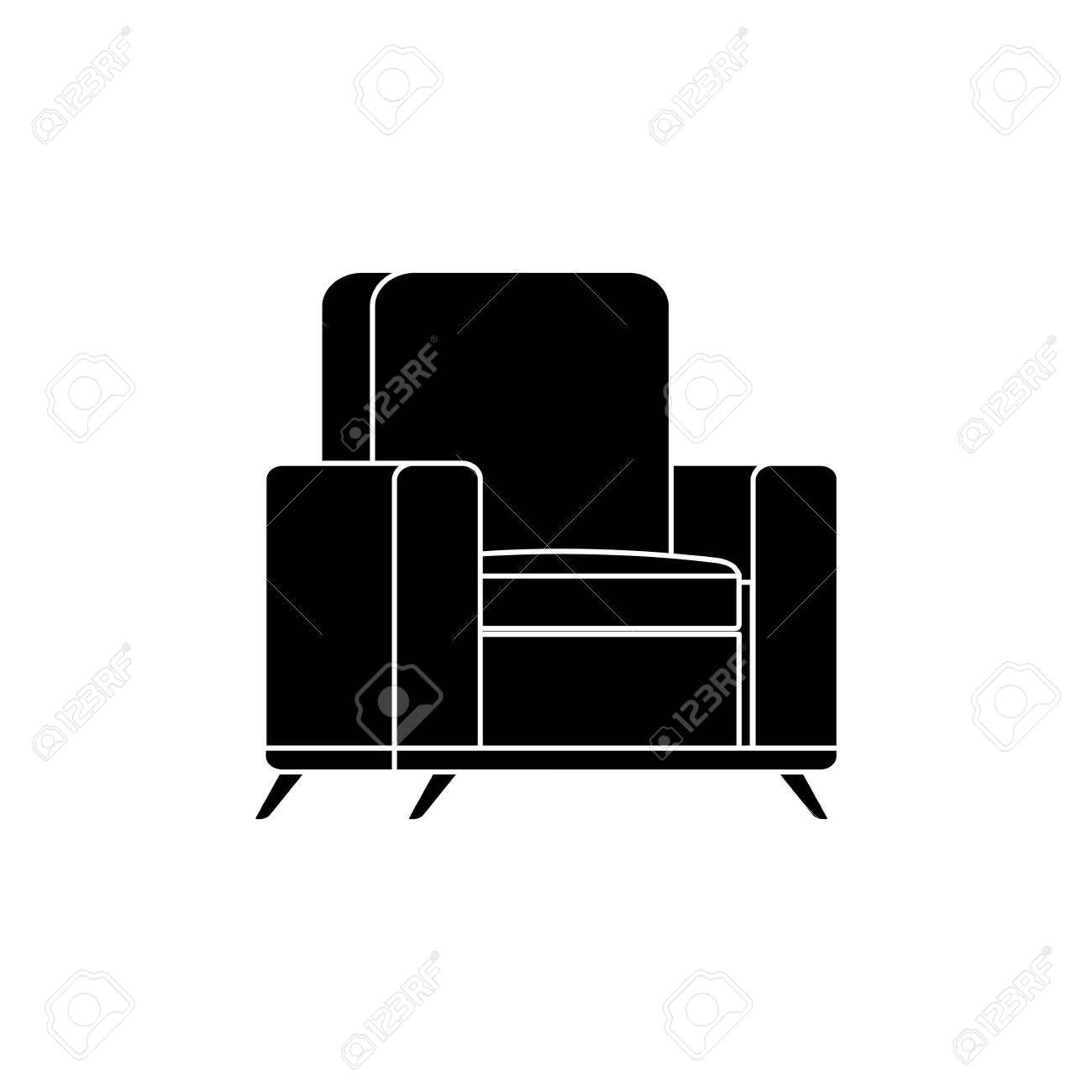 silhouette of furniture comfortable sofa isolated icon vector illustration design - 134635039