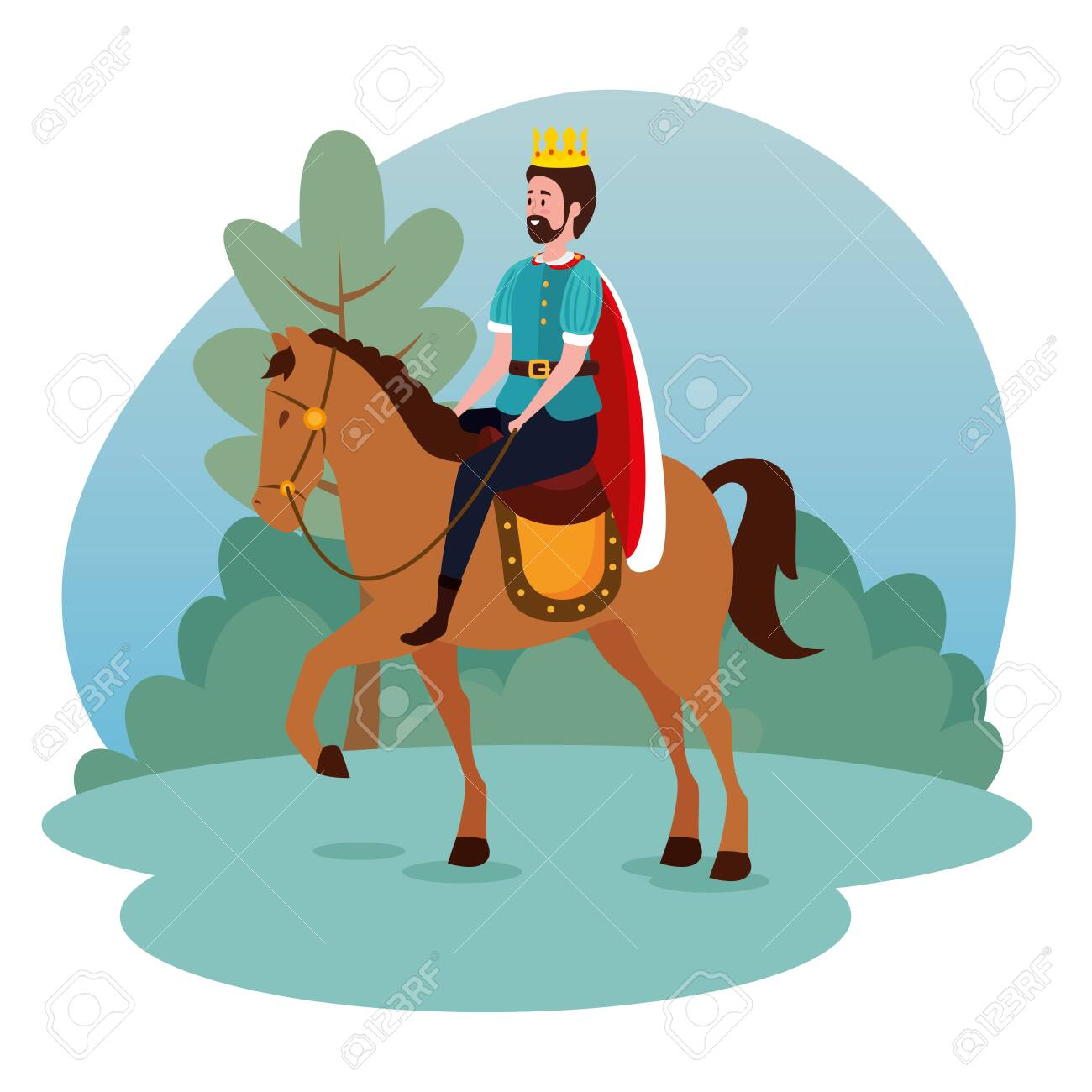 Man King With Crown And Suit Riding Horse To Tale Character Vector Illustration Ilustraciones Vectoriales Clip Art Vectorizado Libre De Derechos Image 135390010