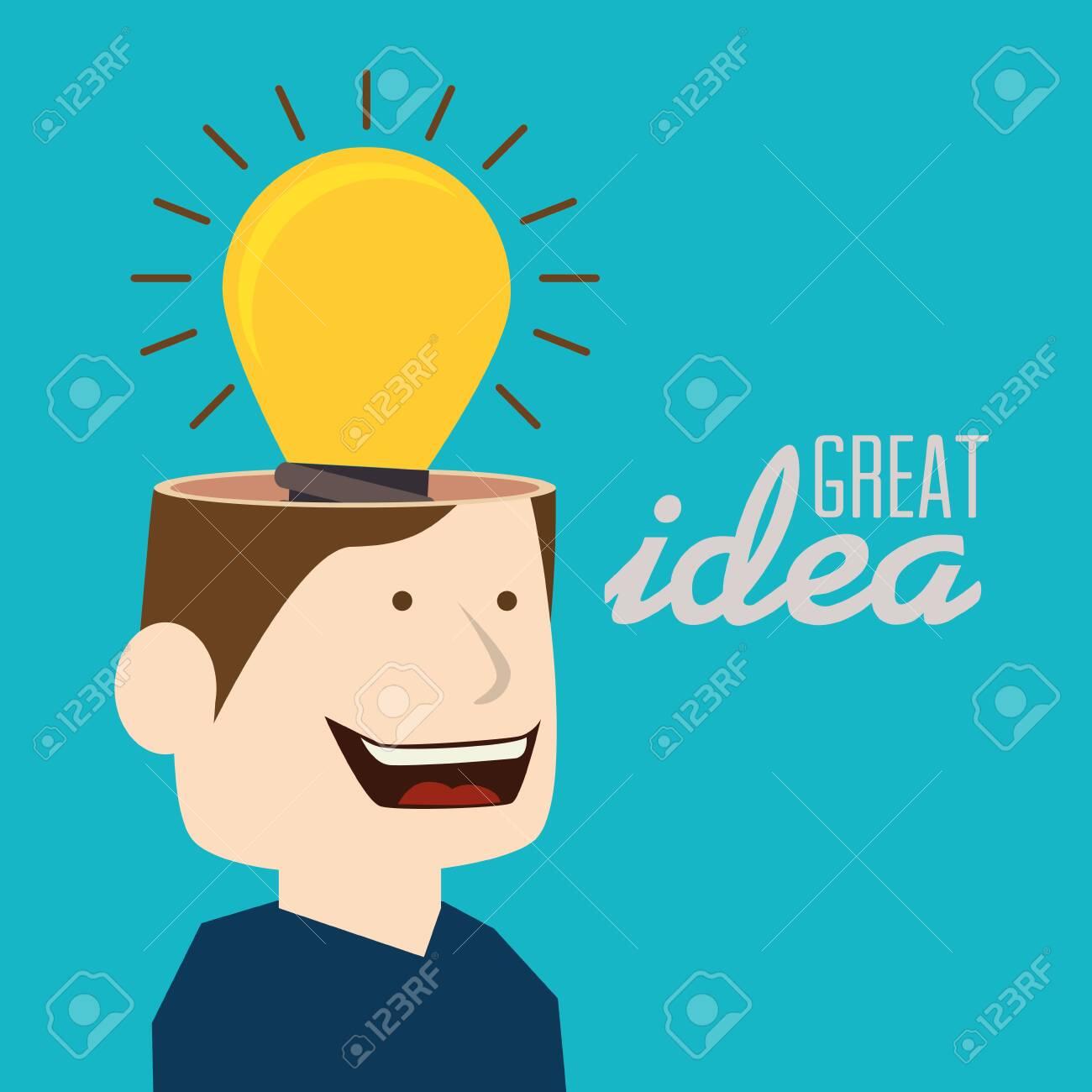 Idea, design over blue background, vector illustration. - 135661253